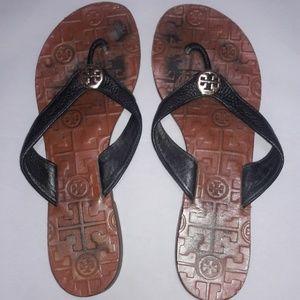 Tory Burch Brown & Black Shoes Sandals Flip Flops
